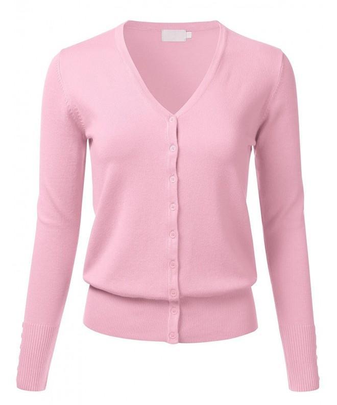 FLORIA Button Cardigan Sweater BabyPink