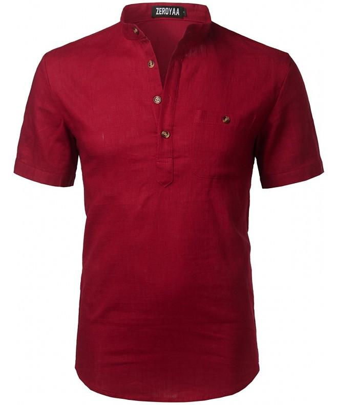 Hipster Casual Sleeve Henley Z42 Red