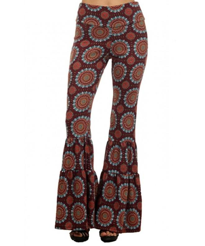 Paisley Palazzo Hippie Fold Over Burgunday