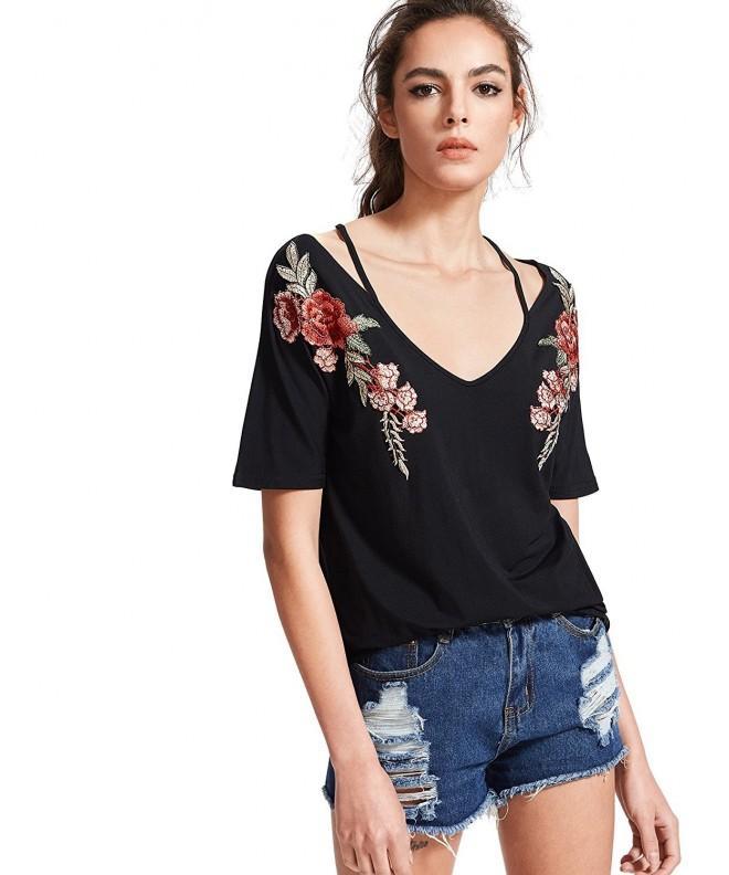 MakeMeChic Womens Embroidered Sleeve Summer