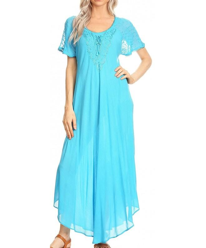 Sakkas 16610 Embroidered Lace Up Turquoise
