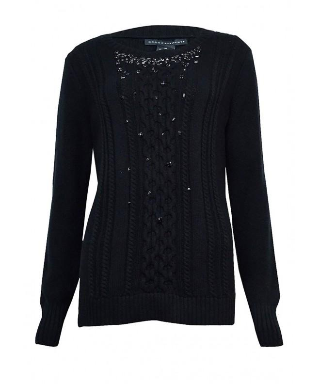 Grace Elements Womens Embellished Sweater