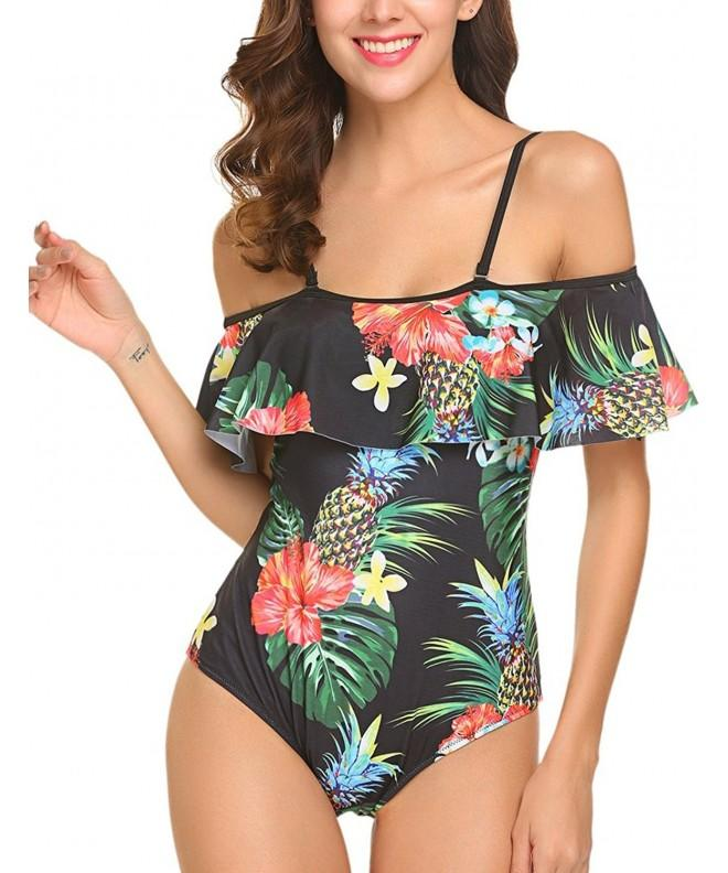 Halife Shoulder Monokini Swimsuits Pineapple
