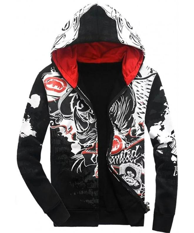 Sleeves Hiphop Floral Zipper Sweatshirt