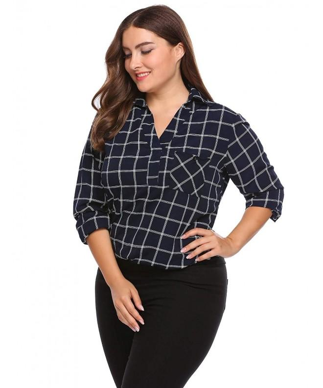 INVOLAND Womens Chiffon Flannel Checkered