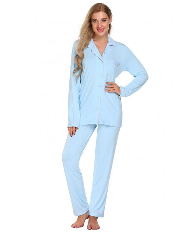 Womens Pajamas Sleeve Button Sleepwear