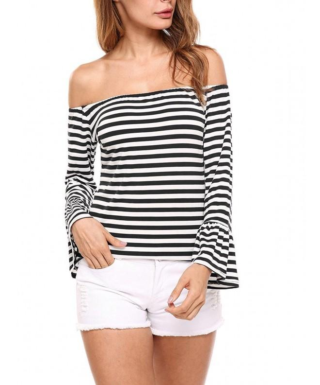 Zeagoo Womens Striped Shoulder Casual