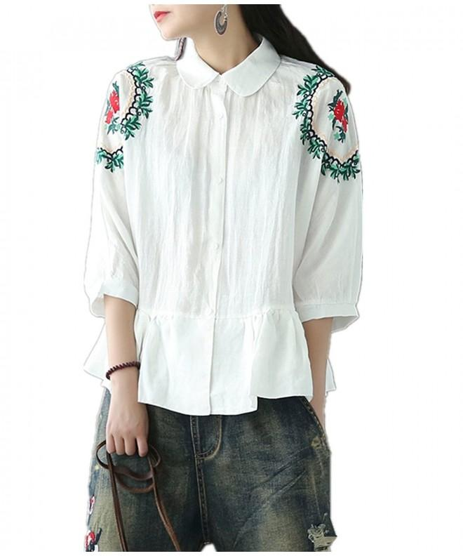 Yesno Peplum Button Down Flounce Embroidery