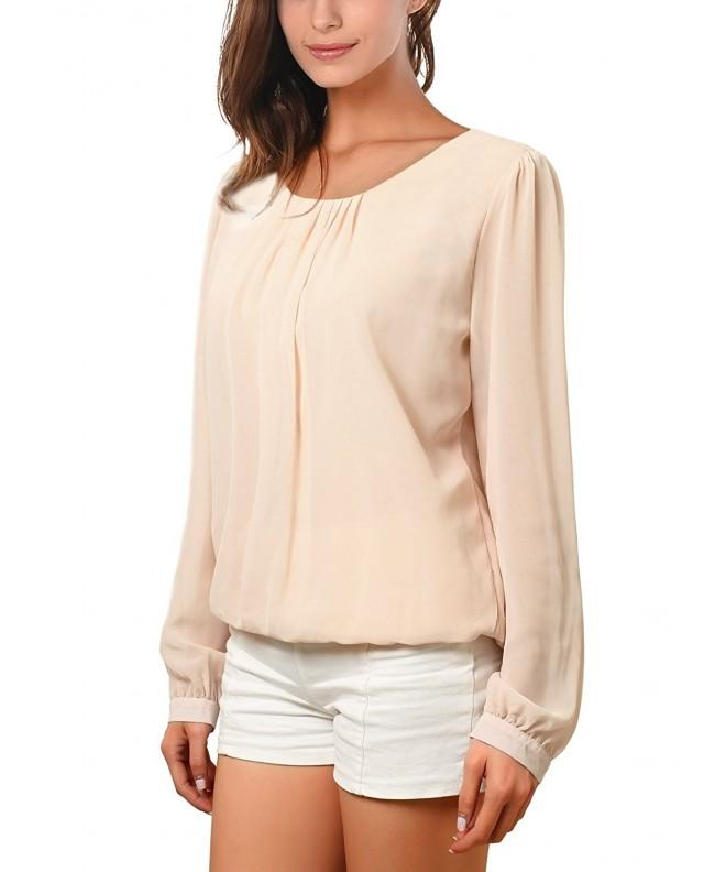 WAJAT Womens Pleated T Shirt Apricot