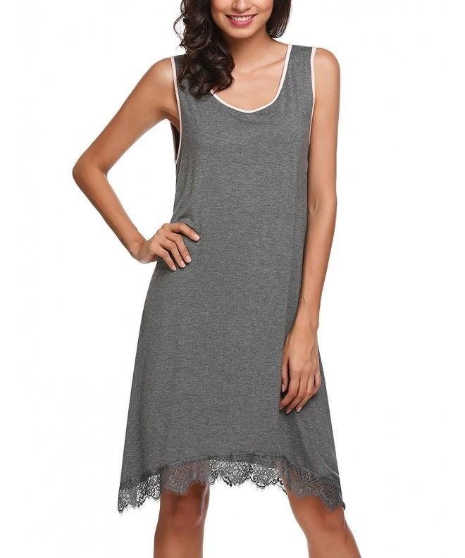 Ekouaer Sleeveless Sleepshirt Lace Trim Nightgown