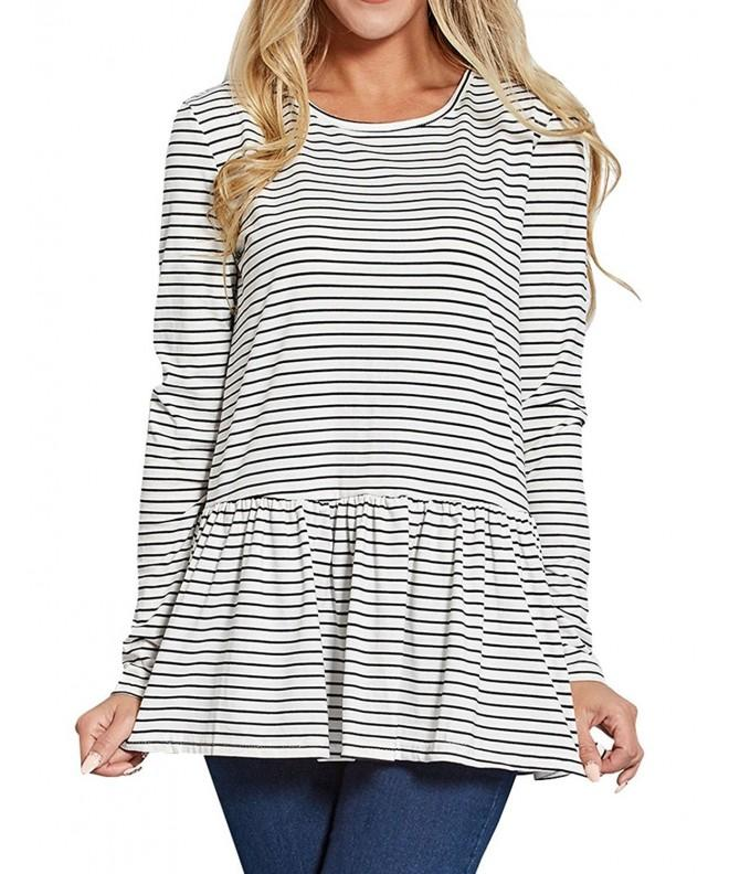 Ezcosplay Womens Stripe Sleeve Blouse