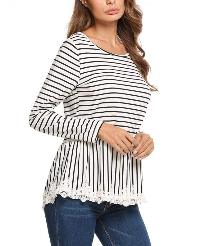 Soteer Womens Striped Frill White