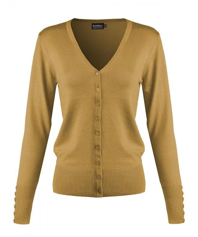 Button V Neck Cardigan Sweater Mustard