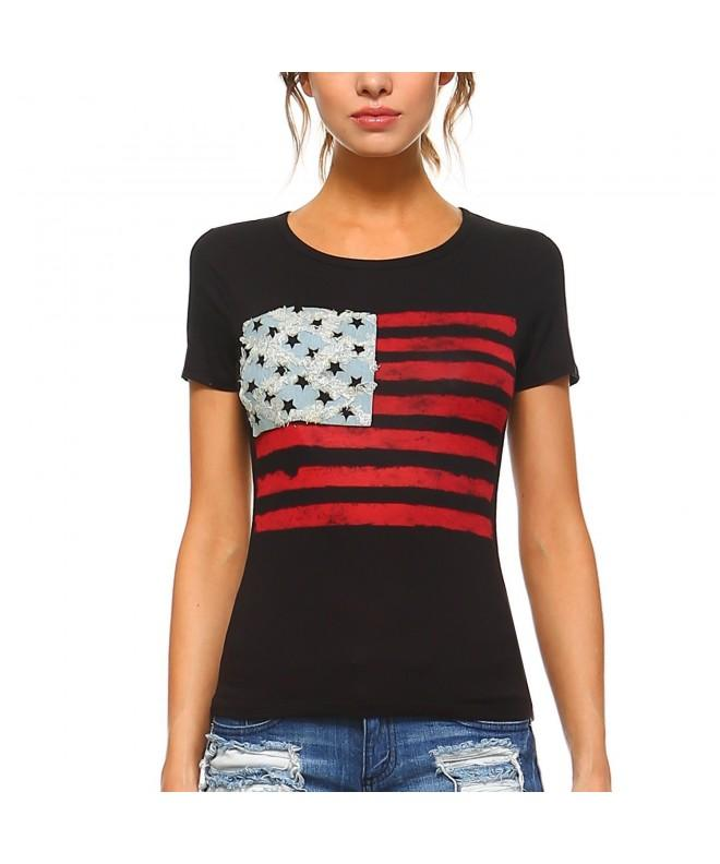 Fashionazzle womens Sleeve American AF02 Black