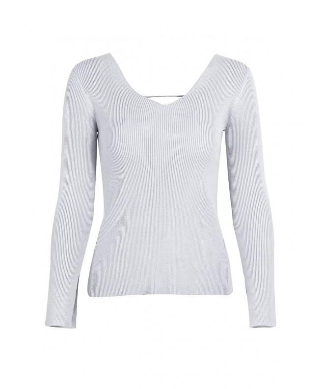 Simplee Backless Pullover Sweater Knitted