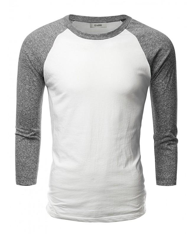 IDARBI Sleeve Baseball T Shirt WHITECHARCOAL