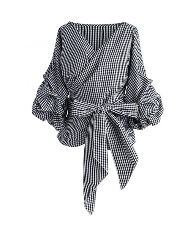 Chicwish Gingham Bowknot Wrapped Sleeves