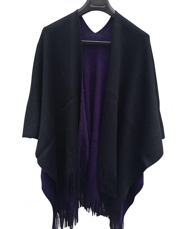 ilishop Knitted Cashmere Cardigans Black Purple