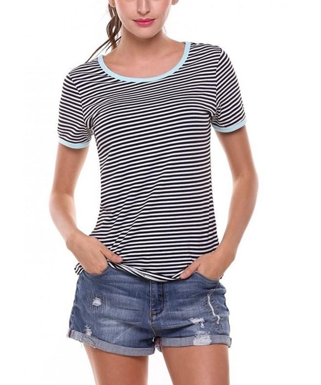Kancystore Womens Striped Sleeve T Shirt