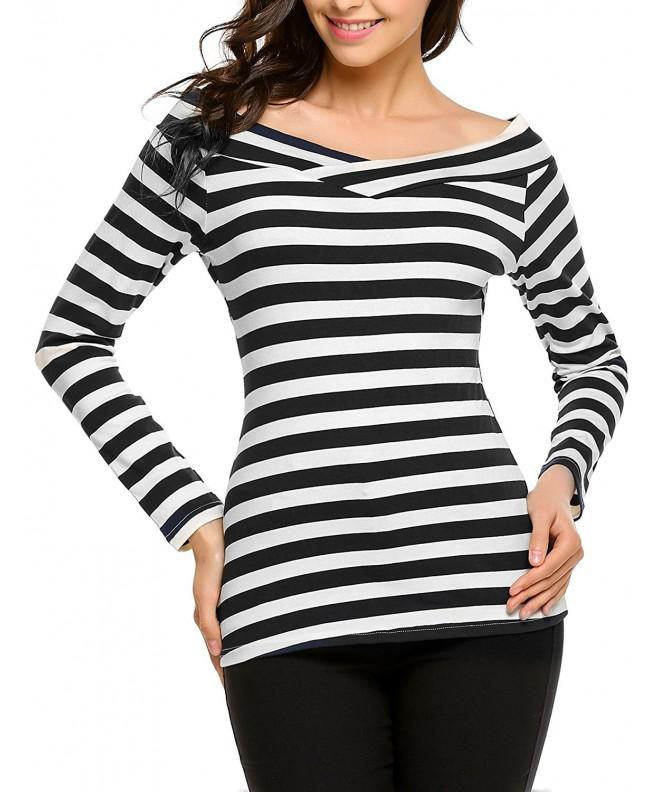 Beyove Womens Striped Shoulder Stretchy
