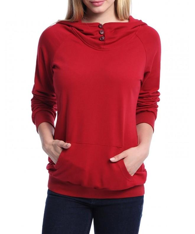 Ninedaily Womens Button Kangaroo Sweatshirts