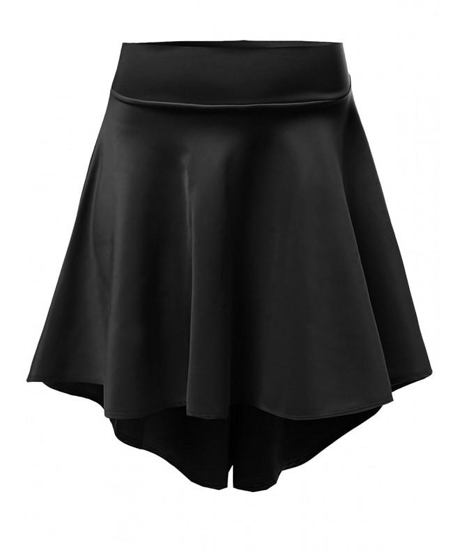 Solid Stretchy Flared Length Skirts