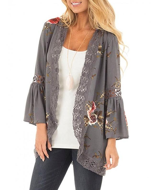 Glomeen Womens Floral Cardigan Patchwork