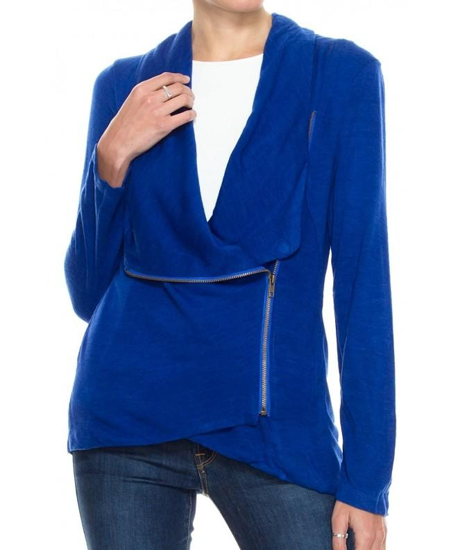 Womens Basic Draped Cardigan Jacket