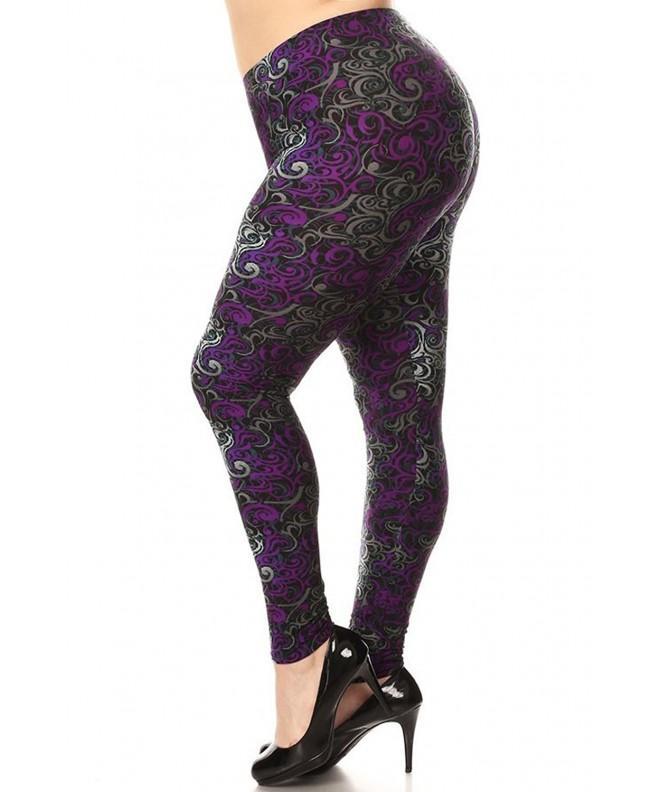 Leggings Mania Womens Paisley Purple