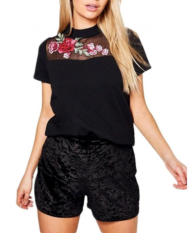 Richlulu Womens Contrast Floral Embroidered