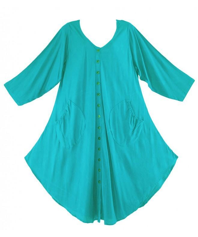 Beautybatik Turquoise Lagenlook Sleeve Tunic