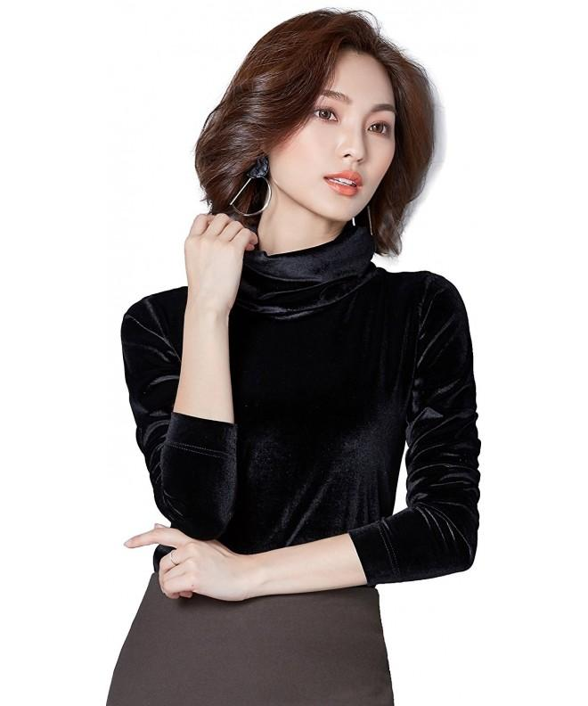 Ababalaya Womens Elegant Velvet Turtleneck