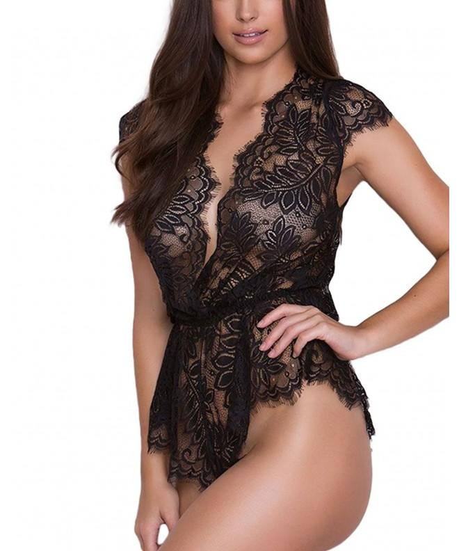 XAKALAKA Lingerie Teddy Plunging Lace up