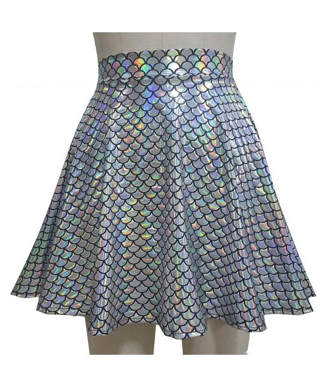 Summer Holographic Mermaid Waisted Skater
