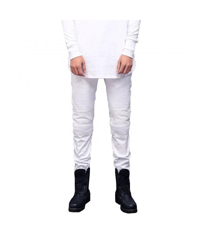 Geurzc Skinny Biker Jeans White