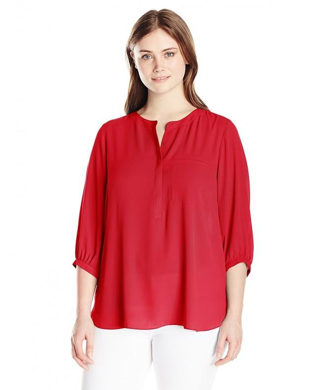 NYDJ Womens Sleeve Henley Strawberry