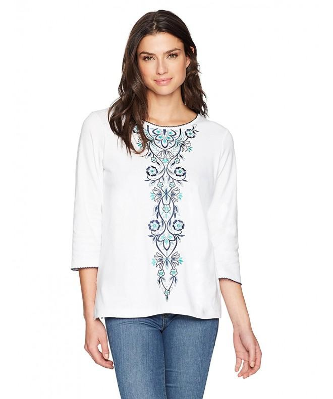 Alfred Dunner Womens Embroidery T Shirt