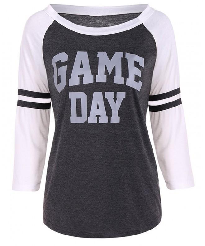 FAYALEQ Womens Letters Baseball T Shirt