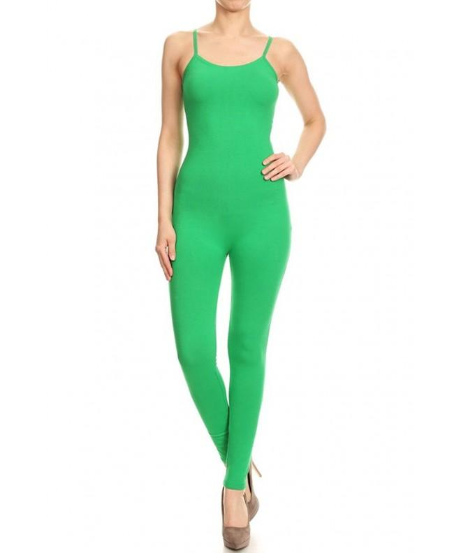 Leggings Depot Spaghetti Jumpsuit Kelly