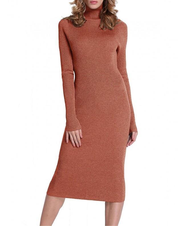 PrettyGuide Ribbed Turtleneck Sweater Tangerine