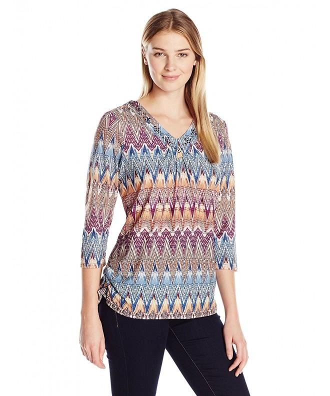 Alfred Dunner Womens Chevron Embellished