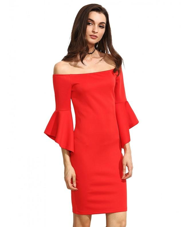 Floerns Shoulder Sleeves Bodycon Dresses