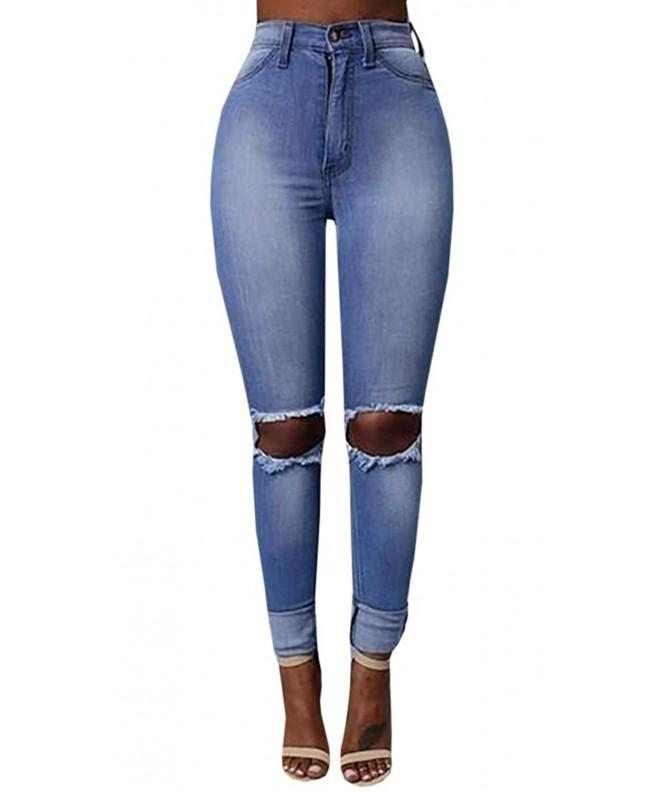 chimikeey Ripped Stretch Skinny Pencil
