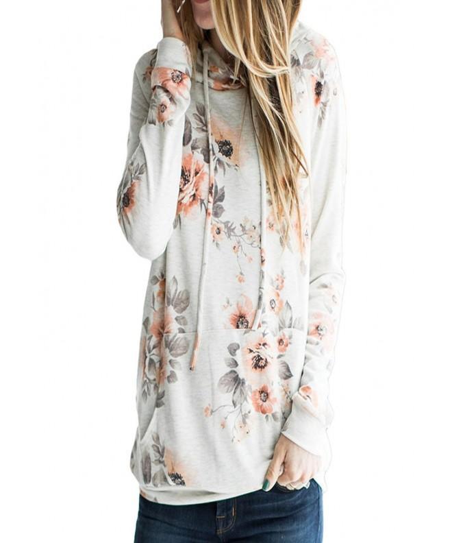 Womens Classic Floral Drawstring Sweatshirts