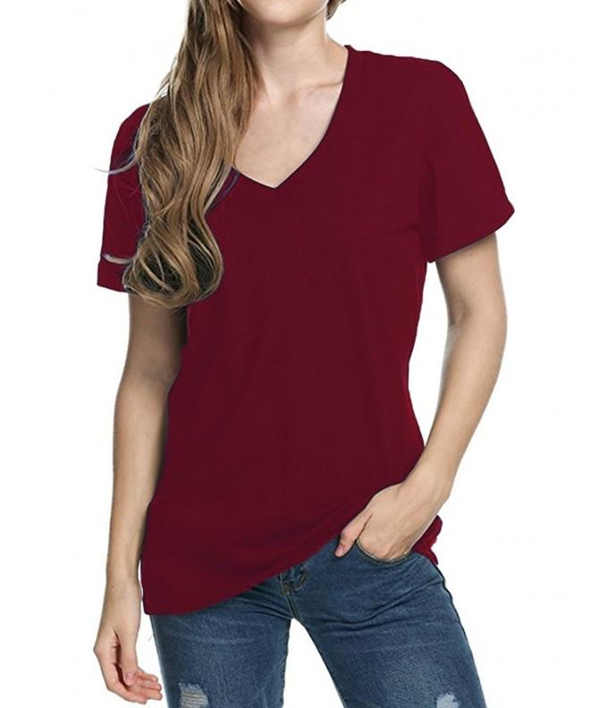 Womens Casual Tshirt Sleeve Burgundy
