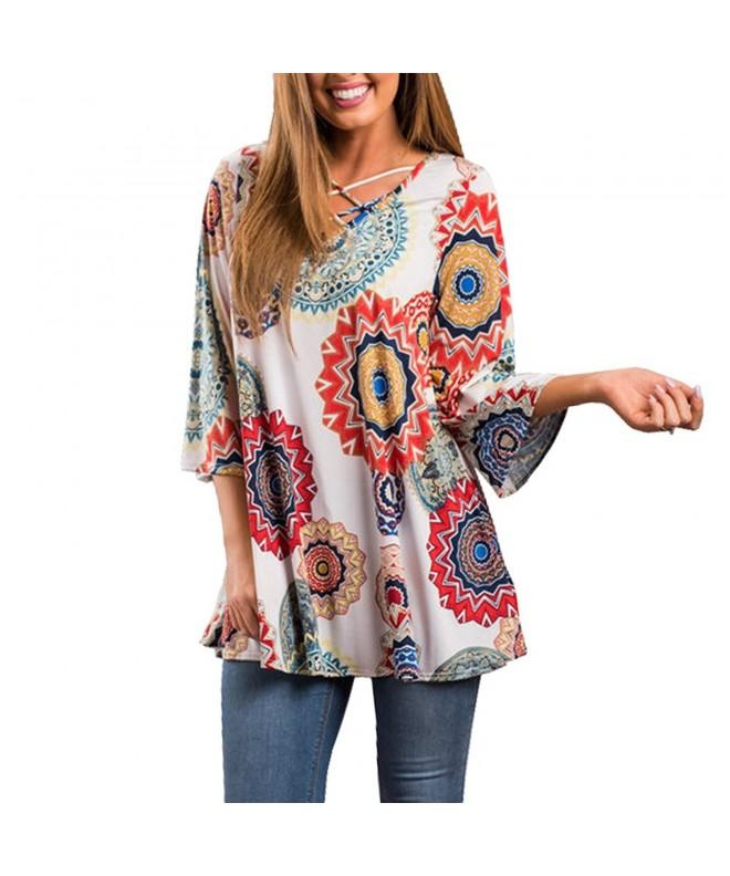 Floral Blouses Sleeved V neck X Large