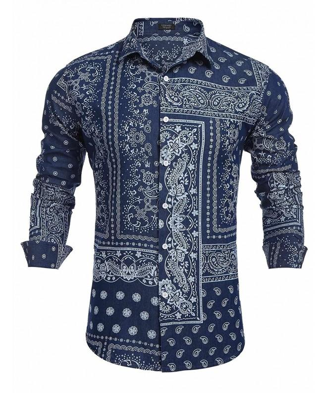 COOFANDY Paisley Sleeve Casual Button