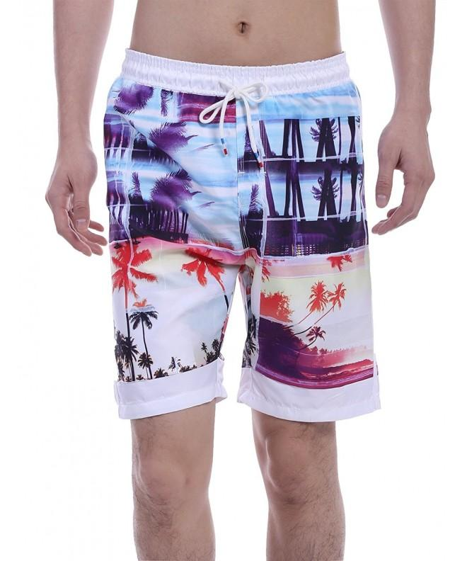 COOFANDY Mid Waisted Coconut Hawaiian Shorts
