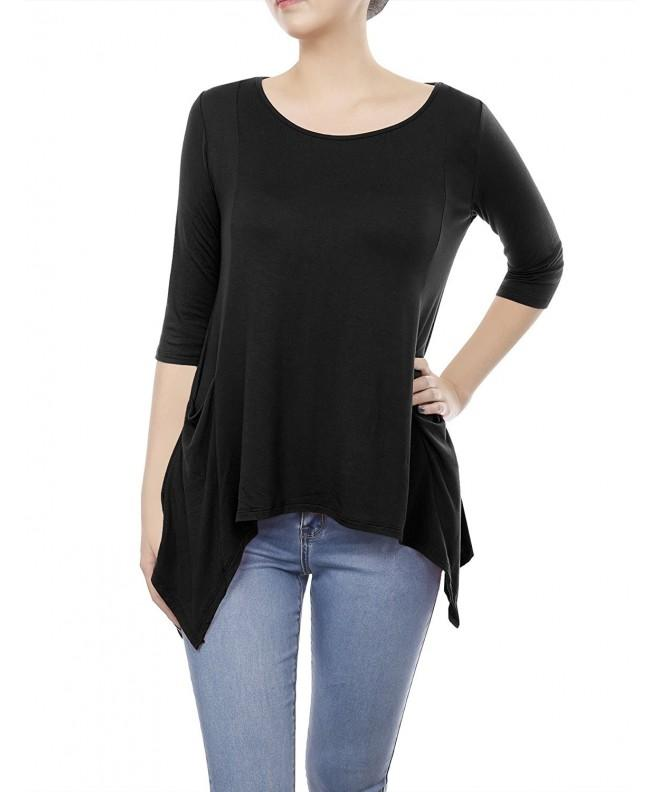 Womens Casual Round Sleeve Pockets