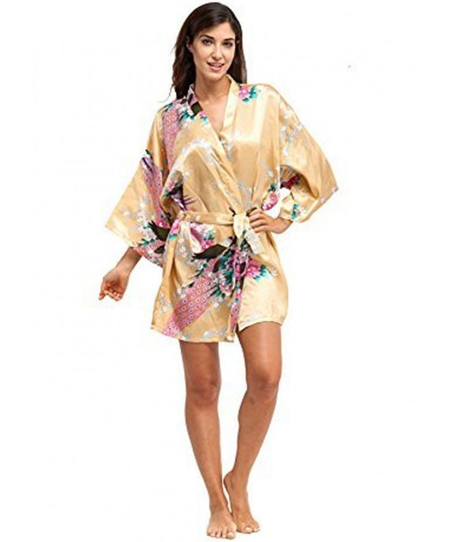 KimonoArt Womens Kimono Short Peacock Yellow